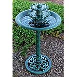 Alpine Tiered Classic Pedestal Garden Water Fountain and Birdbath, Dark Verdigris Green Finish, 35 Inch Tall