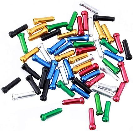 Alloy Cable Tips End Crimps Bike Brake Shifter Caps for Road Mountain Bikes 56 Pcs Multicolor Bike Cable End Caps