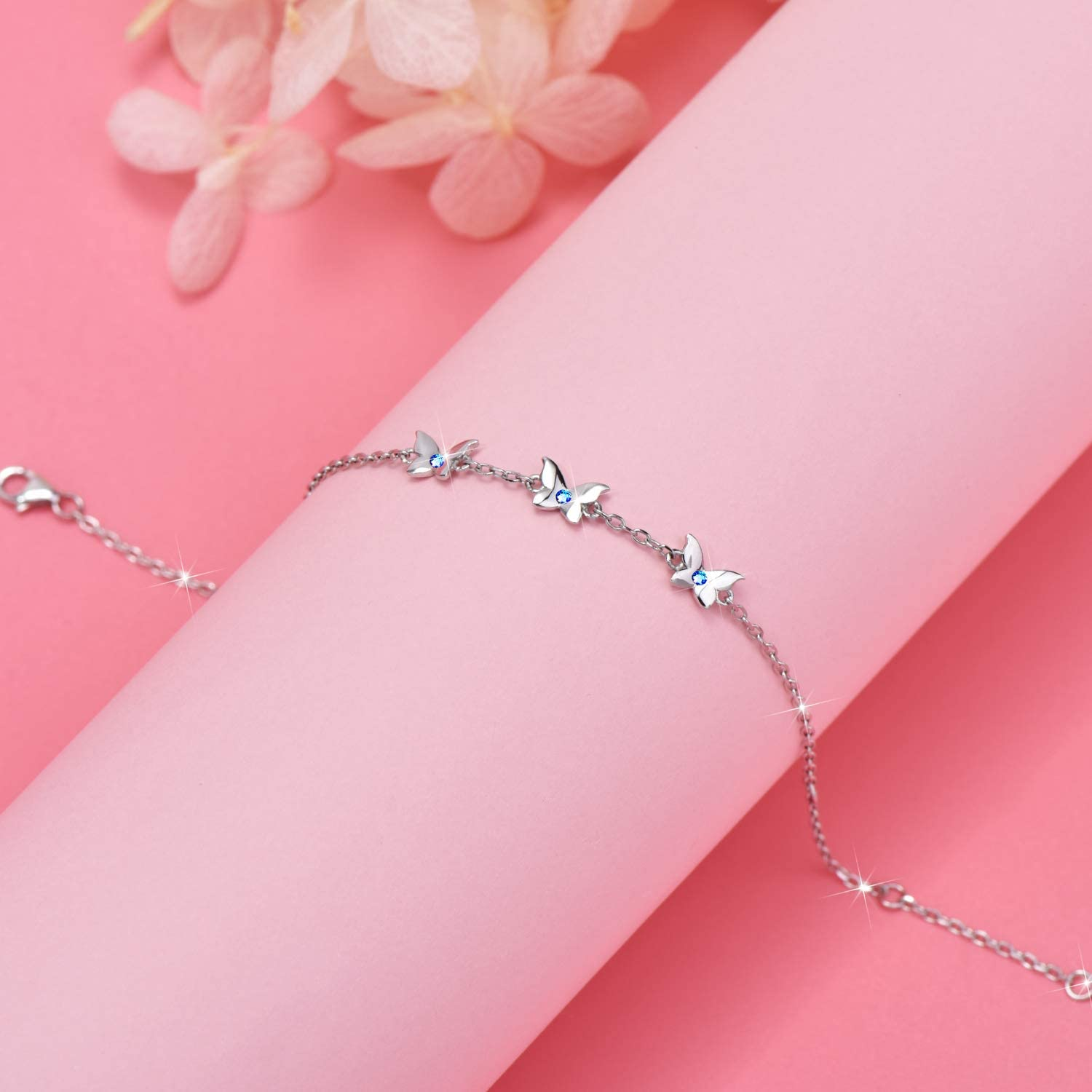 Blue Butterfly Anklet for Women S925 Sterling Silver Adjustable Foot Ankle Bracelet Birthday Gifts for Girls