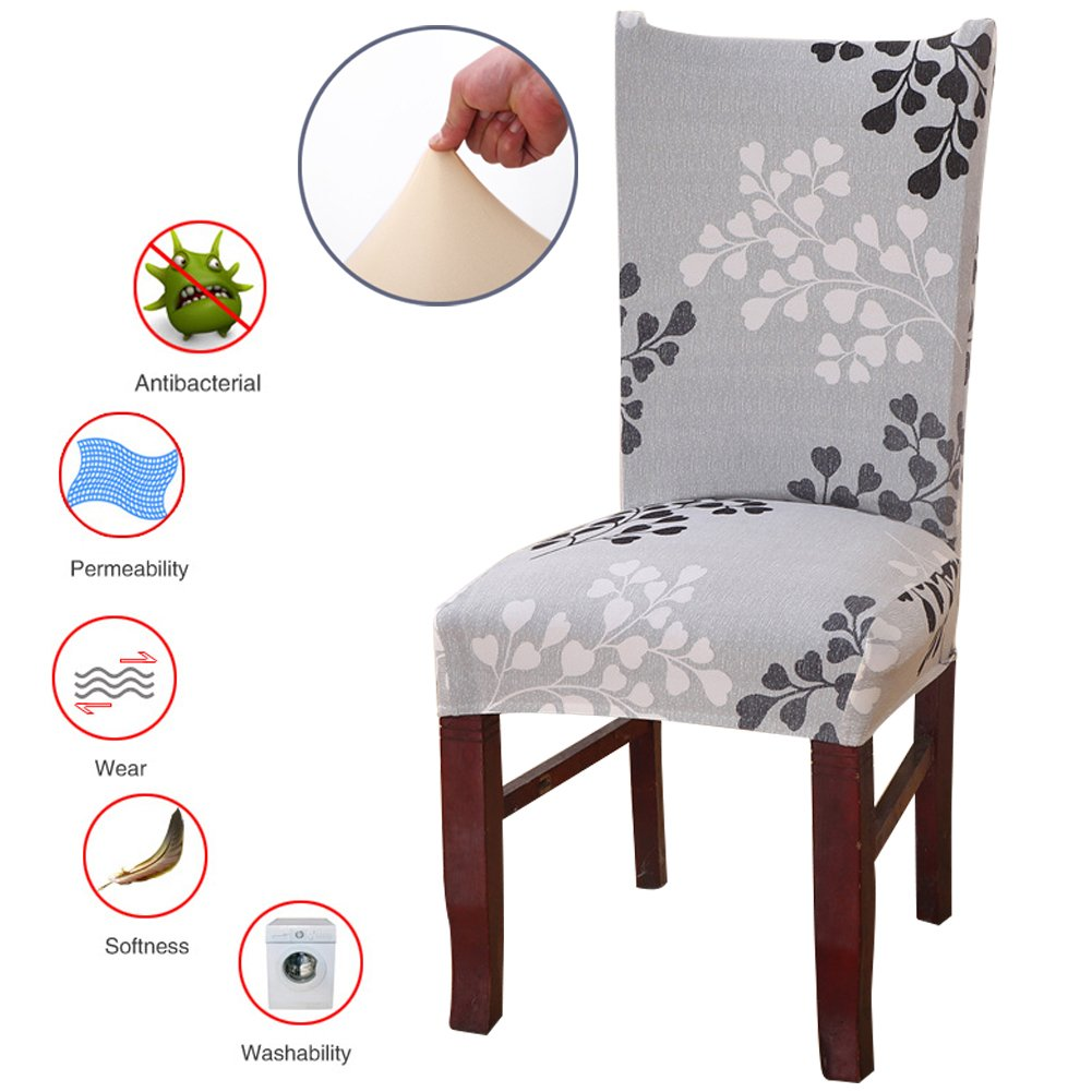 ColorBird Plant Series Spandex Dining Chair Slipcovers Removable Universal Stretch Chair Protective Covers for Dining Room, Hotel, Banquet, Ceremony (Set of 4, Grey Leaf) by ColorBird (Image #2)