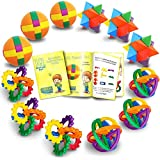 Fun Puzzle Balls with Free Colorful Instruction Guide by Gamie - Party Games - Fidget Brain Teaser Puzzles - Includes 12 Fun and Challenging Puzzle Balls | Great Educational Toy for Kids