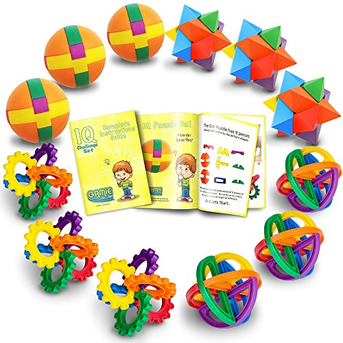 Fun Puzzle Balls with Free Colorful Instruction Guide by Gamie - Party Games - Fidget Brain Teaser Puzzles - Includes 12 Fun and Challenging Puzzle Balls | Great Educational Toy for Kids ()