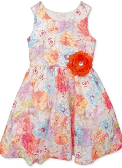 c82ccaab74403 Amazon.com: Rare Editions Little Girls' Floral-Print Lace Dress (2T ...