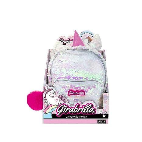 nuovo stile 2c2a9 6b2cd Zainetto Girabrilla Unicorno Bianco Paillettes Reversibili ...