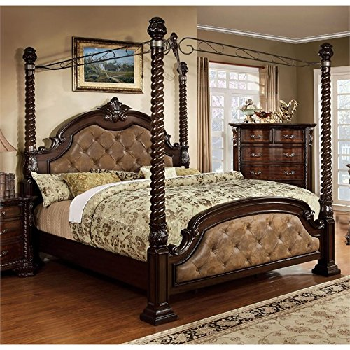 BOWERY HILL King Poster Canopy Bed in Dark ()