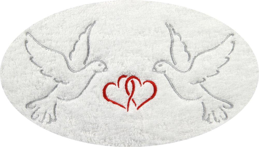 Juego de toallas de mano Harti Promoline Jade Blanco con Edlen erstklassigen boda bordados (palomas y corazones) extra mullido pesado Calidad 600 g/m² ...