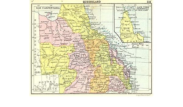 Australia Queensland Map.Amazon Com Australia Queensland Inset Map Of Cape York