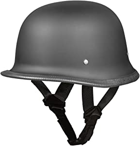 Daytona Helmets Motorcycle Half Helmet German- Dull Black 100% DOT Approved