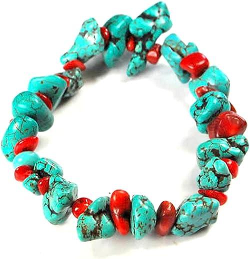 Turquoise bracelet  herkimer diamond  coral