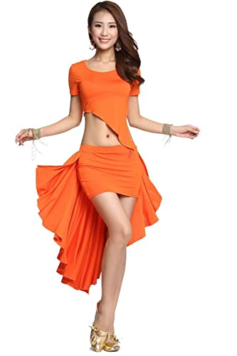 Ropa de baile Traje de danza del vientre Set Irregular Edges Top & Seda de la leche falda with Back ...