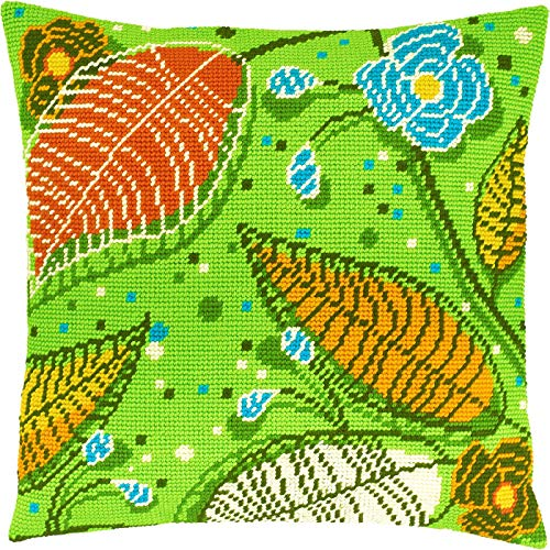 Green. Cross Stitch Kit. Throw Pillow Case 16×16 Inches. Home Decor, DIY Embroidery Needlepoint Cushion Cover Front, Printed Tapestry Canvas, European Quality. Spring Summer Fall Leaves