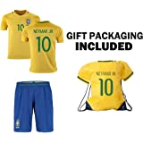Brazil Home World Cup Kids Soccer Jersey with matching shorts - All Youth Sizes Ages