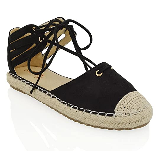 ESSEX GLAM Womens Lace Up Flat Espadrilles Sandals Ladies Ankle Straps  Casual Shoes Size: Amazon.co.uk: Shoes & Bags
