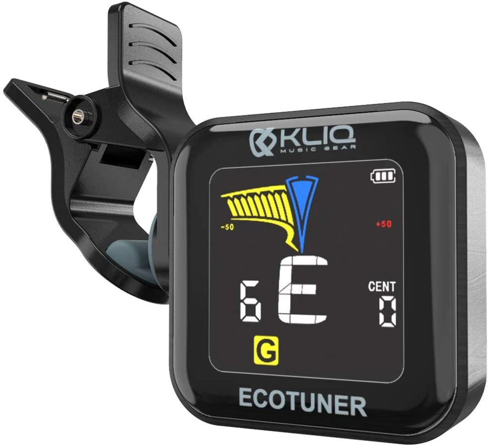 KLIQ EcoTuner - USB Rechargeable Clip-On Tuner (with included charging cable) - with Guitar, Ukulele, Violin, Bass & Chromatic Tuning Modes