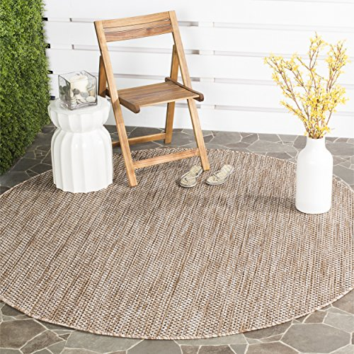 Safavieh Courtyard Collection CY8521-37312 Natural and Black Indoor/ Outdoor Round Area Rug (6'7