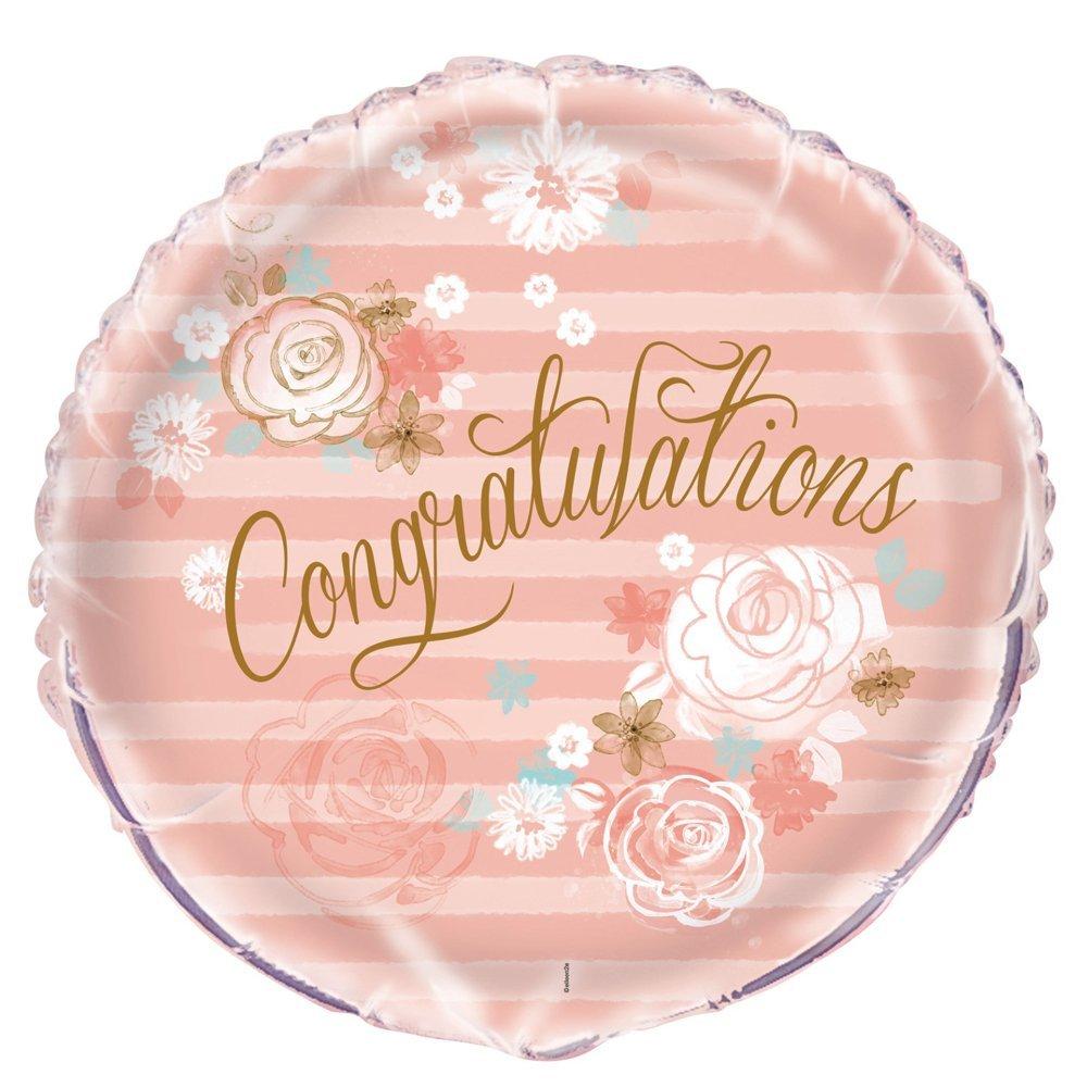 18 Foil Gold & Pink Floral Congratulations Balloon Unique 53996