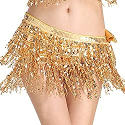 Belly Dance Hip Scarf Performance Outfit Gold Skirt