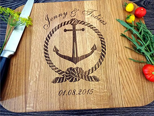Personalized Cutting board FAMILY ANCHOR. Laser engraved handmade cutting board. Wedding gift