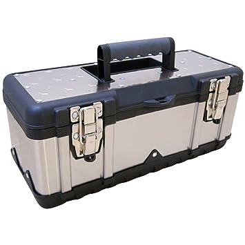 ASS - Caja de herramientas (aspecto de acero inoxidable, tamaño mediano, vacía): Amazon.es: Bricolaje y herramientas