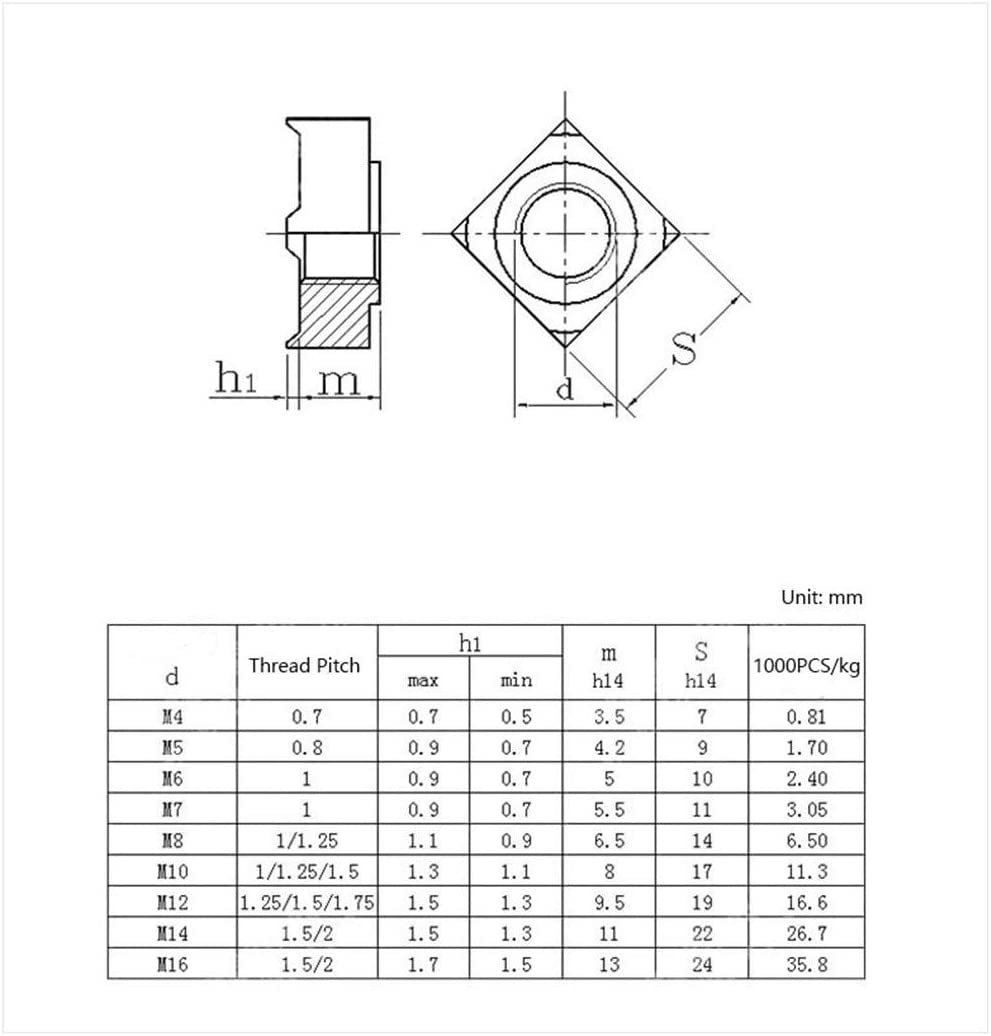 304 materials Nuts Size : M5 Square Weld Nuts Screws 6PCS a Lot Nuts 304 Stainless Steel Square Nuts M4 M5 M6 M8 M10 Weld Nut Nails