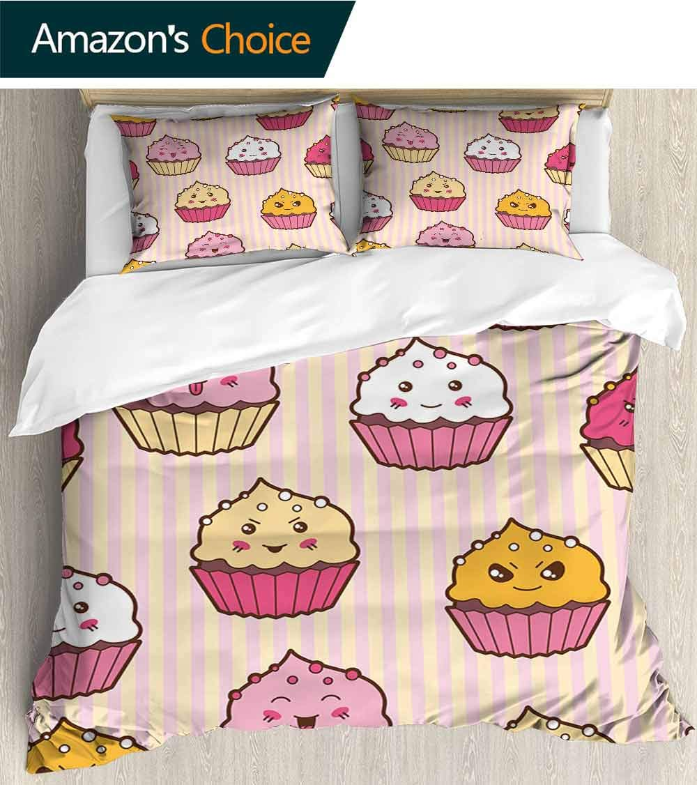 PRUNUSHOME Hotel Luxury Bed Sheets Kawaii Cartoon Cupcakes Hypoallergenic Bed Sheet Set and Pillow Case Set King by PRUNUSHOME