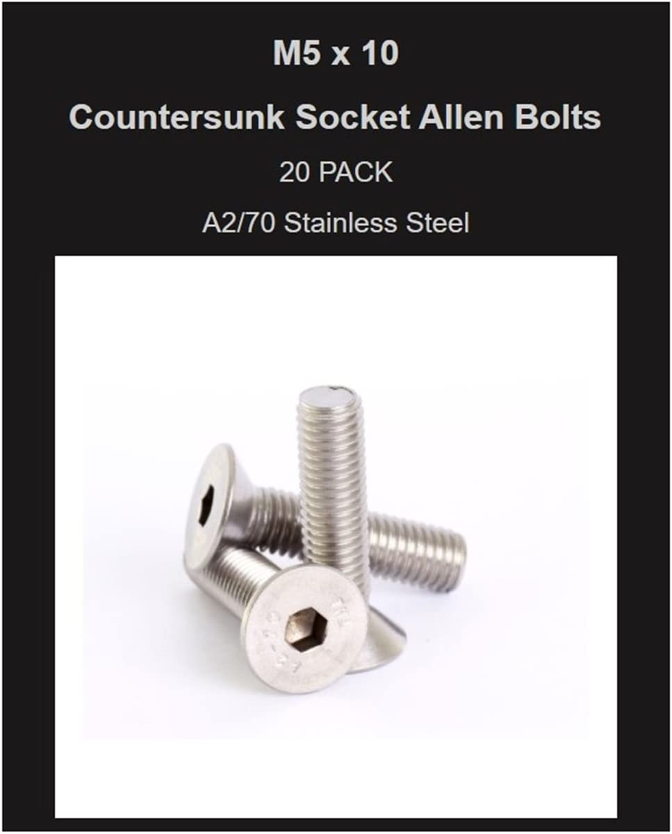 M5 x 20 STAINLESS COUNTERSUNK CSK ALLEN BOLT SOCKET SCREWS 10 PACK