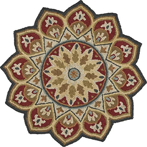 LR Home Red Sunflower Area Rug