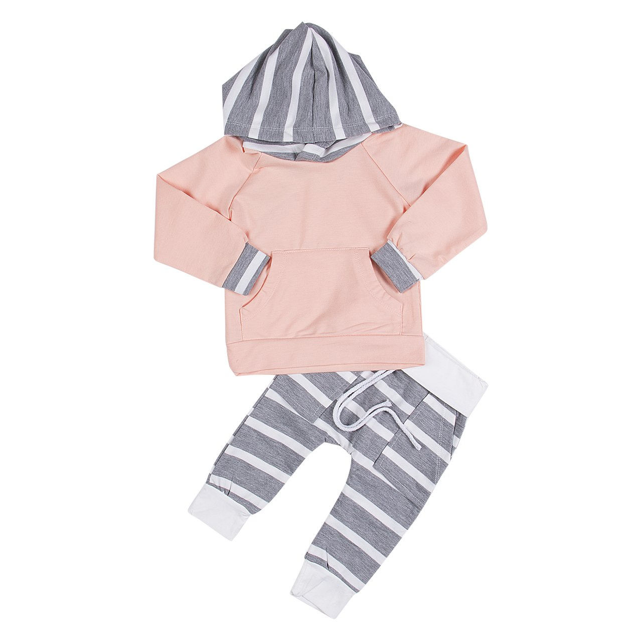 Baby Boys Girl Hoodies Top with Pocket+ Striped Long Pants 2pcs Pants Outfit Set