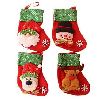 Dosige 4pcs/set Medias de Navidad Calcetines de Navidad para el regalo del bolso de azúcar, decoración del árbol de navidad, fiesta de Navidad: Amazon.es: ...