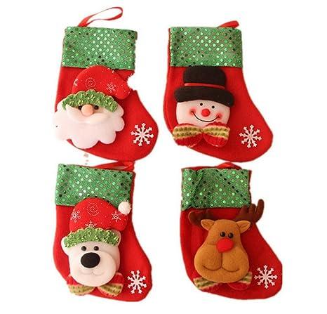 Dosige 4pcs/set Medias de Navidad Calcetines de Navidad para el regalo del bolso de