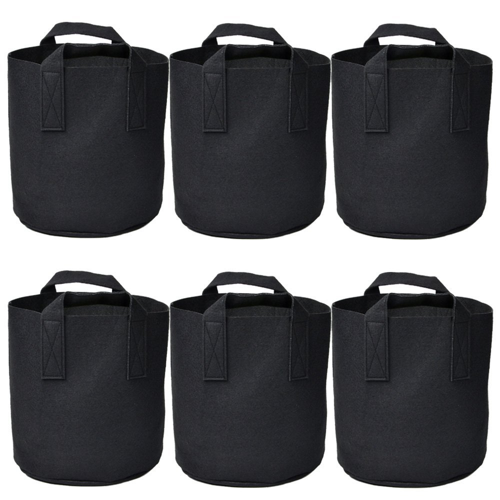 Garden Plant bags / 6-Packs 5 Gallon Grow Bags /Aeration Fabric Pots /Handles (Black) by Ming Wei