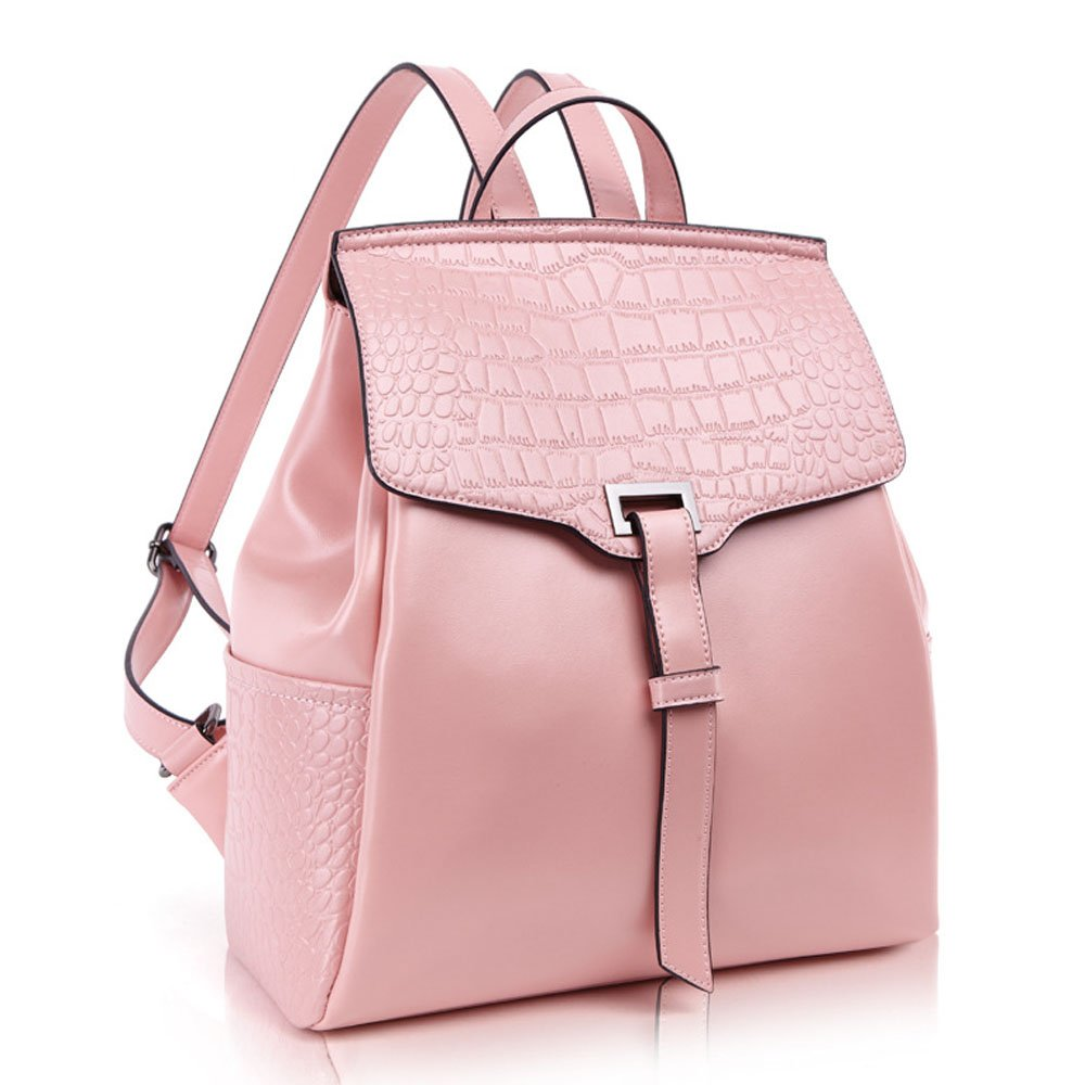 ENVOY(エンヴォイ) リュック 女子 おしゃれ リュックサック レディース 通学 本革 レザー 人気 かわいい デイパック iPad収納 バックパック OL 通勤 カバン 大容量 大きめ ビジネスバッグ B01N1X3486 ピンク ピンク