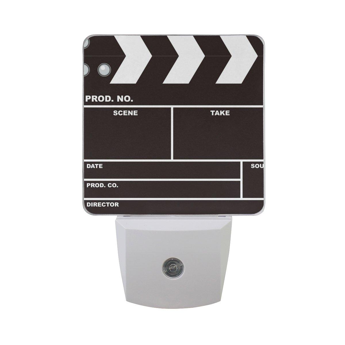 JOYPRINT Led Night Light Music Black Movie Clapboard, Auto Senor Dusk to Dawn Night Light Plug in for Kids Baby Girls Boys Adults Room