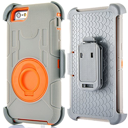 Compatible for iPhone 6 6S Case 4.7 inch, PlusMall Rugged Shockproof Hybrid Protective Case Back Cover with Swivel Belt Clip Hard Holster Defender Case Ring Rotating Kickstand (Grey&Orange)