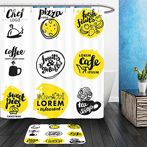 Vanfan Bathroom 2Suits 1 Shower Curtains & 1 Floor Mats hand written font lettering cute hand drawn logo template good for cafe bar pizza catering 374080903 From Bath (Happy Halloween Disney Font)