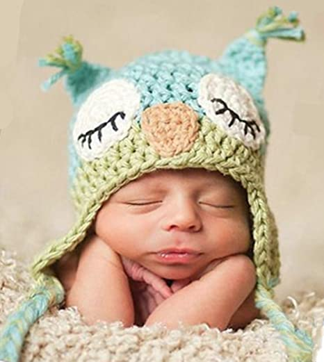 Image Unavailable. Image not available for. Color  Xikee Kids Baby Boy Girl  Crochet Sleepy Owl Hat Beanie Photography Props 18c5dcfe1c1b
