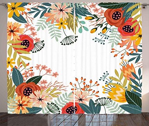 Ambesonne Floral Curtains, Vintage Exotic Summer Flowers Botanical Natural Framework Colorful Art Illustration, Living Room Bedroom Window Drapes 2 Panel Set, 108W X 84L inches, Multicolor