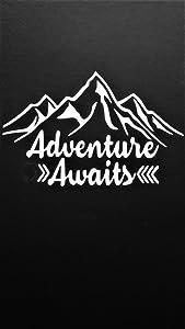 "Chase Grace Studio Adventure Awaits Outdoors Hiking Camping Mountains Vinyl Decal Sticker White  Cars Trucks Vans SUV Laptops Wall Art 6.5"" X 4.25"" CGS513"