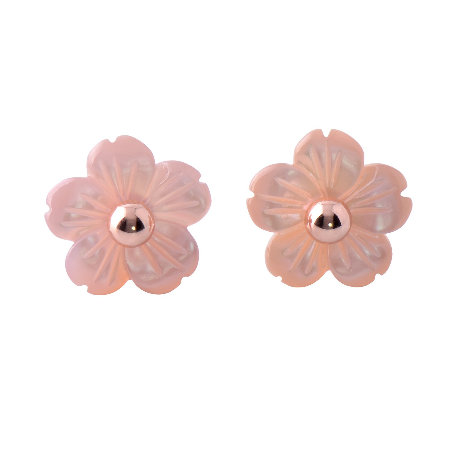 Paialco Mother of Pearl Flower Shape Earring Jackets Ball Rose Gold Tone 4MM
