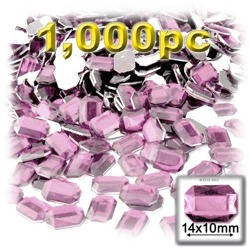 長方形の八角形Craftsコンセント1000-pieceアクリルアルミ箔フラットバックラインストーン、10by 14mm、ライトベビーピンクの商品画像