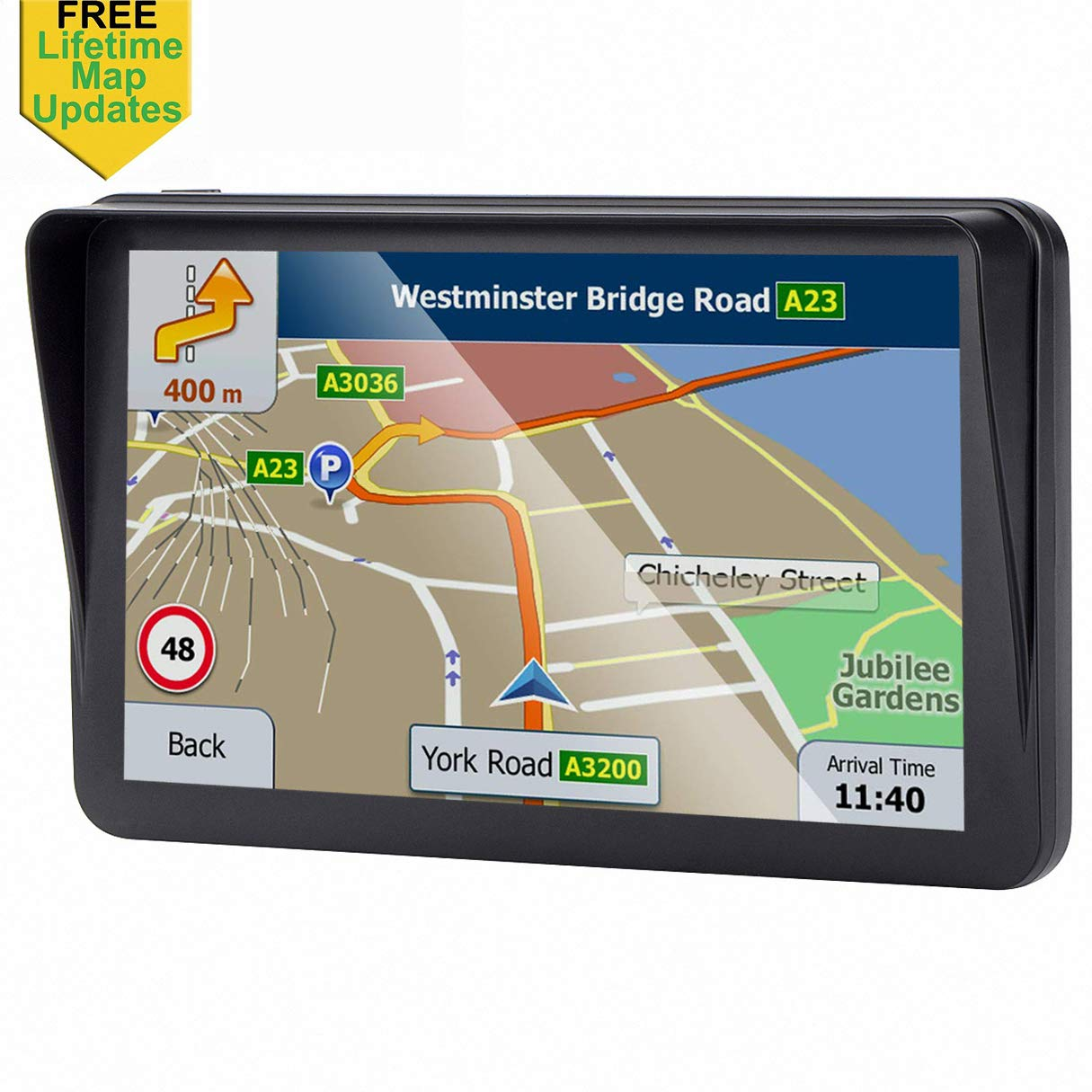 7-inch GPS for Car, 8GB Free Lifetime Map Update Spoken Turn-to-Turn Navigation System for Cars, Portable Sat-Nav by Highsound
