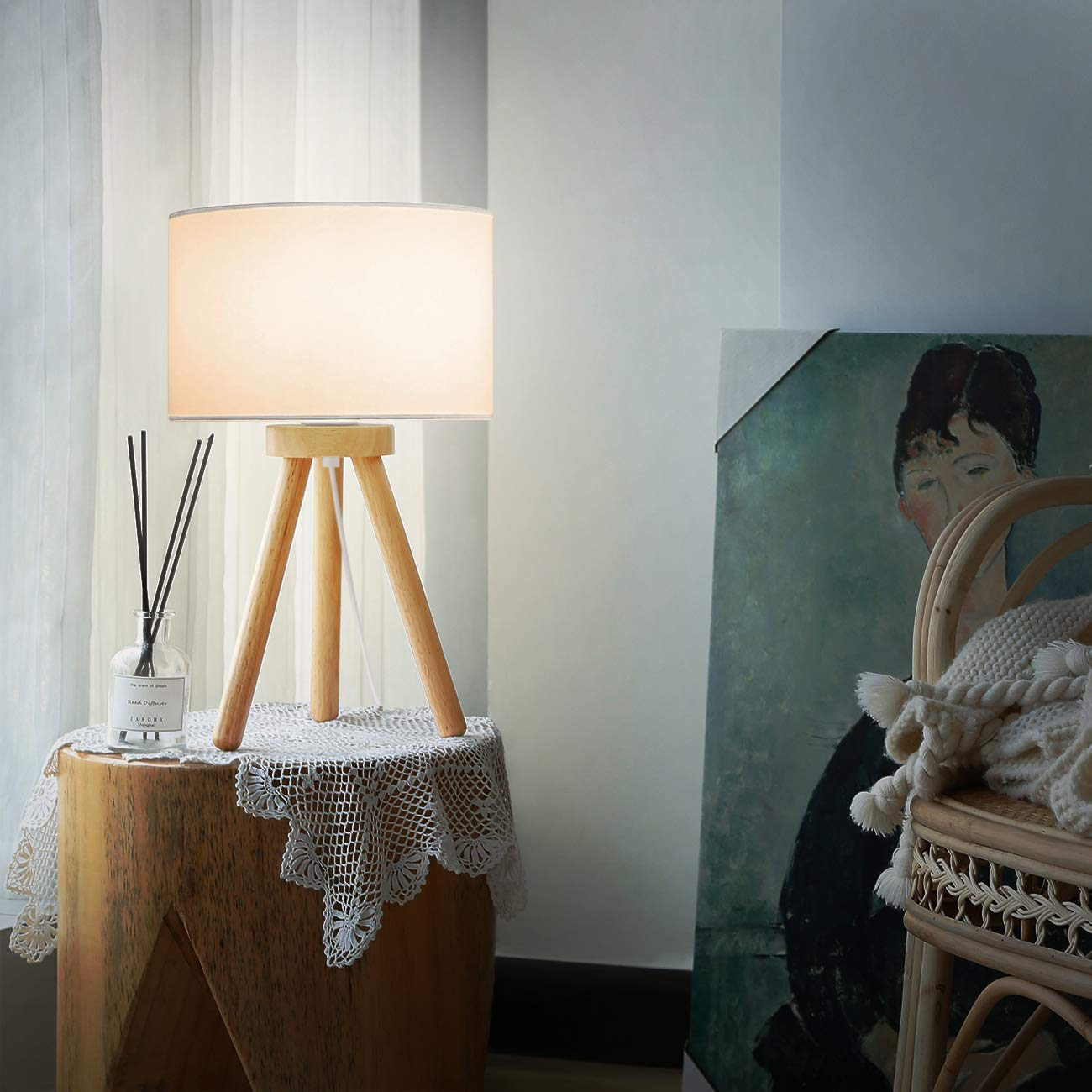 Tomons Wood Tripod Bedside Lamp, Simple Design with Soft Light for Bedroom Decorated in Warm and Cozy Ambience, Polyester White Fabric Lampshade, Packaged with 4W LED Bulb, Warm White Light, 39cm High by Tomons (Image #4)