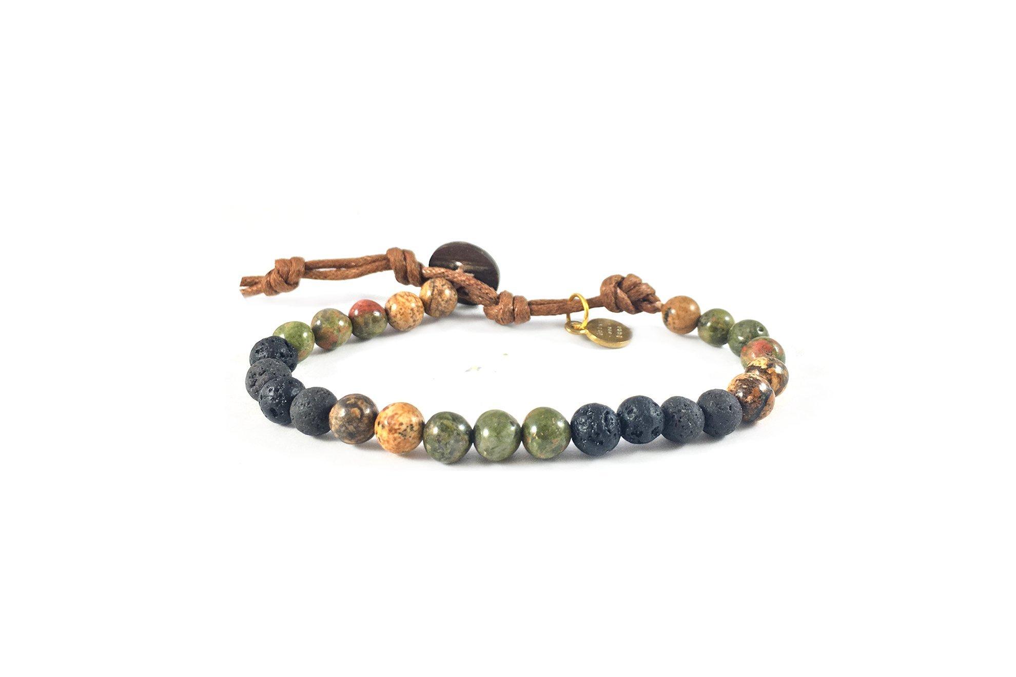 Lotus and Luna Peace and Strength 6mm Lava Stone, Unakite and Jasper Healing Bracelet