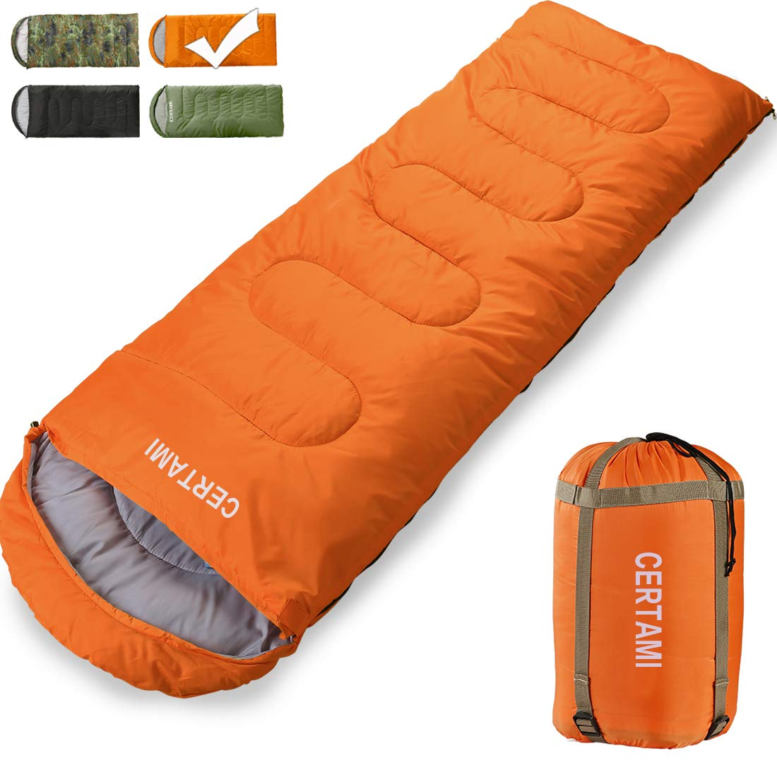 CER TAMI Sleeping Bag for Adults, Girls & Boys, Lightweight Waterproof Compact, Great for 4 Season Warm & Cold Weather, Perfect for Outdoor Backpacking, Camping, Hiking. (Orange/Right Zip) by CER TAMI