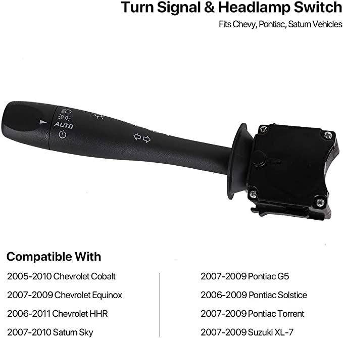 Autoday Universal Turn Signal Wiper Switch Lever Interior Switches Dimmer Headlamp Dimmer Switch Multi-Function Switch Fits Chevrolet Cobalt HHR G5 Solstice Torrent Sky Combination