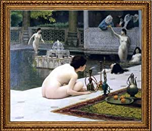 "Jean-Leon Gerome Lighting the Pipe - 16"" x 20"" Framed Premium Canvas Print"