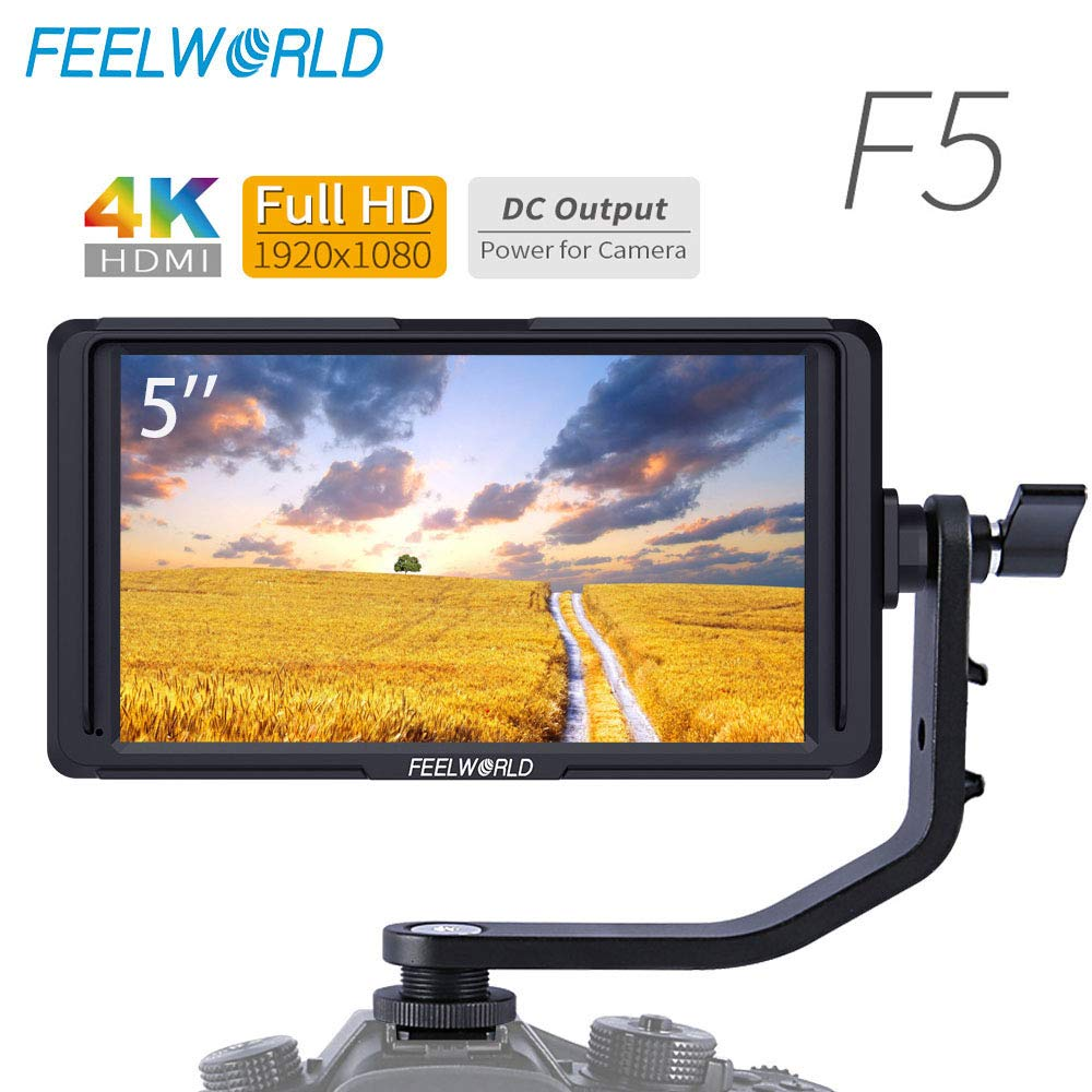 FEELWORLD F5 5Inch On Camera Field DSLR Monitor Small Full HD 1920x1080 4K HDMI Input/Output Focus Video Assis Match Tilt Arm Power by FEELWORLD