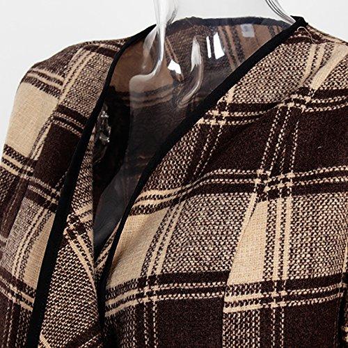 Pour Automne Manteau Manches Ishine Col Printemps En Longues Légère Casual Cardigan Femme Revers Kaki Tartan Veste z6z70S