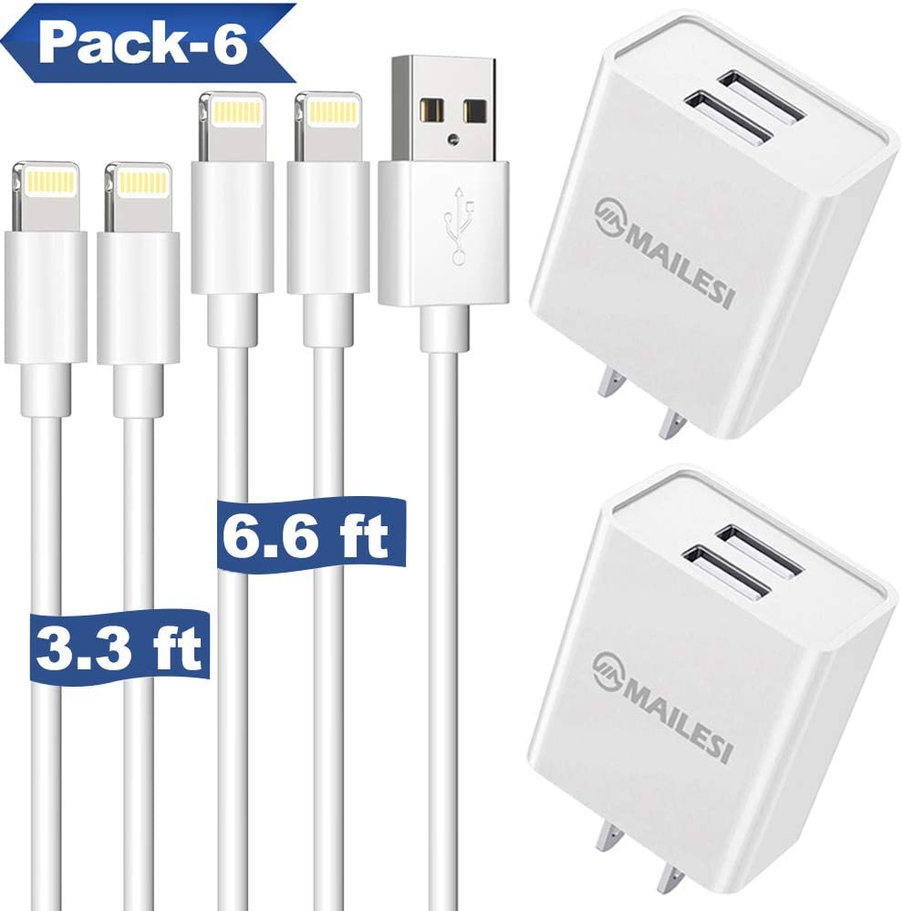 iPhone Chargers iPad Chargers, MAILESI 10W 2 Port Plug Travel Wall Charger Adapter with 2-Pack 6.6-Feet Lightning Cables Charge Sync Compatible with iPhones and iPads