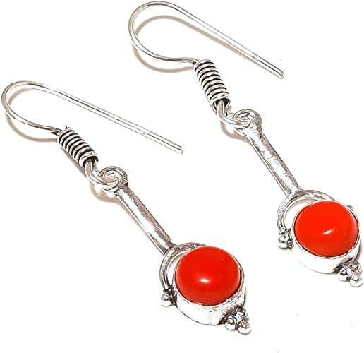 Red Coral Sterling Silver Overlay 7 Grams Earring 1.75 Girls Gift Jewelry Handmade